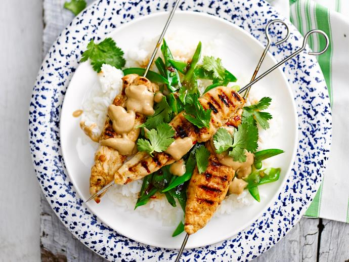 "[Peanut-free satay chicken skewers](https://www.womensweeklyfood.com.au/recipes/peanut-free-satay-chicken-skewers-28692|target=""_blank"")  *Gluten- and dairy-free*"