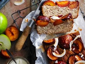Flourless almond, plum and orange blossom loaf