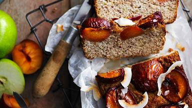 Flourless almond, plum and orange blossom loaf