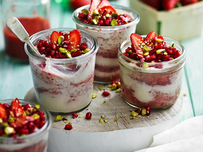 "This gorgeous [strawberry halva mousse](https://www.womensweeklyfood.com.au/recipes/strawberry-halva-mousse-28700|target=""_blank"") is naturally sweet and fluffy, combining juicy strawberries and nutty tahini to create a perfect healthy dessert or mid-morning snack."