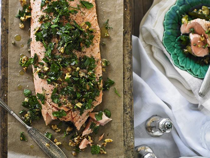 "A side of [salmon topped with a herb and walnut crust](https://www.womensweeklyfood.com.au/recipes/salmon-with-herb-and-walnut-crust-6829|target=""_blank"") makes a spectacular centrepiece for a celebratory meal. Ask the fishmonger to pin-bone the salmon. Or, you can remove the bones from the centre of the fillet with tweezers. Rub your finger firmly over the flesh and you will be able to feel the bones."