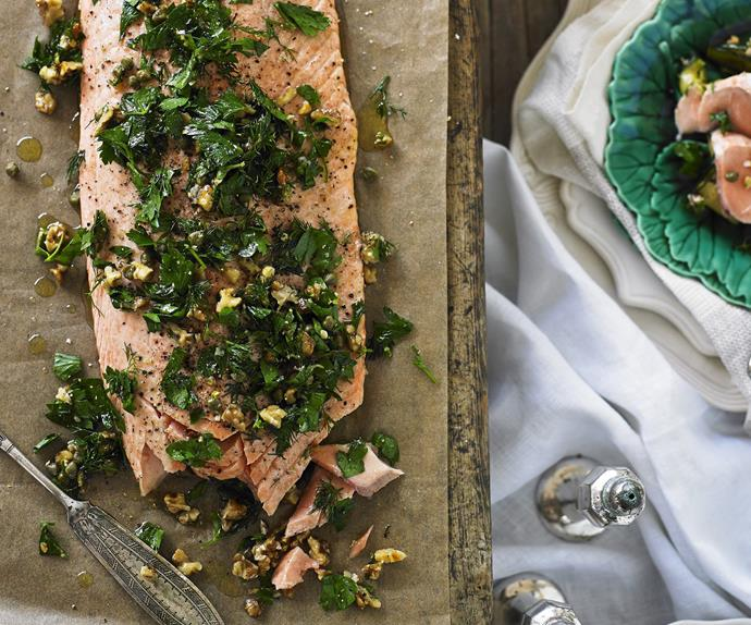 Salmon with herb and walnut crust