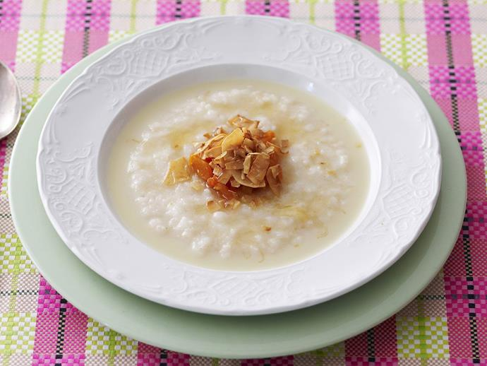 """**[Rolled rice porridge](https://www.womensweeklyfood.com.au/recipes/rolled-rice-porridge-7419