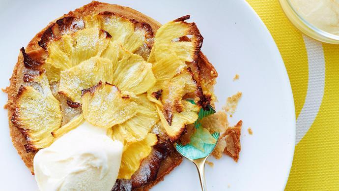 Macadamia fillo tarts with caramelised pineapple
