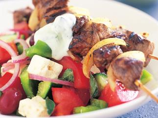 Souvlaki with Greek salad