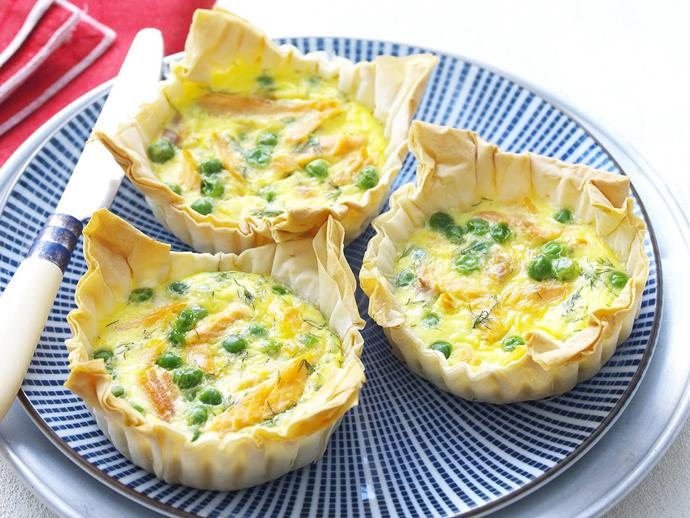 "These [smoked trout tarts](https://www.womensweeklyfood.com.au/recipes/smoked-trout-tarts-9268|target=""_blank"") with peas and dill make a great lunch. If you'd like to make finger food sized versions for a party, just quarter the filo sheets at the beginning, use a mini-muffin tin and cut the cooking time to 10-12 minutes."