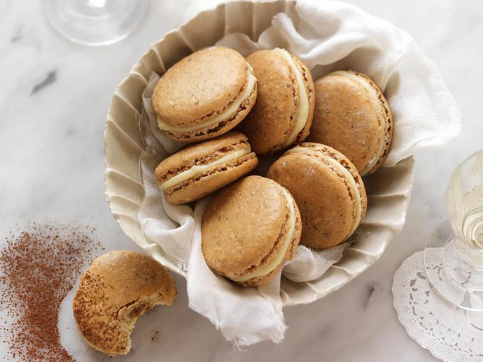 "**[Cappuccino French macarons](https://www.womensweeklyfood.com.au/recipes/cappuccino-french-macarons-14801|target=""_blank"")**  Do not be afraid of the humble macaron. Yes, they're tricky, but easier than you think. Don't take any short cuts, use a light touch when mixing, and you'll be well on the way to making the perfect cappuccino macaron."