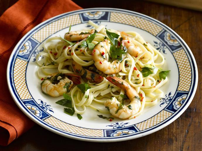 "[Spicy prawn linguine](http://www.foodtolove.com.au/recipes/spicy-prawn-linguine-14910|target=""_blank"")"