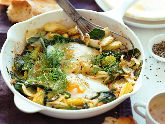 """[Grilled eggs with spiced fennel and spinach](https://www.womensweeklyfood.com.au/recipes/grilled-eggs-with-spiced-fennel-and-spinach-13885