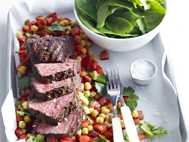 Spice-rubbed beef fillet with chickpea and preserved lemon salad