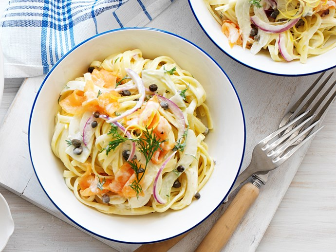 smoked salmon,fennel and dill pasta