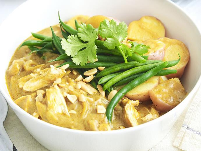 "This fragrant [Malay chicken curry](https://www.womensweeklyfood.com.au/recipes/spicy-malay-chicken-curry-6389|target=""_blank"") is spice, but the coconut cream takes the edge off the bite. If you can't source kaffir lime leaves, use 2 tablespoons of grated lime zest instead."