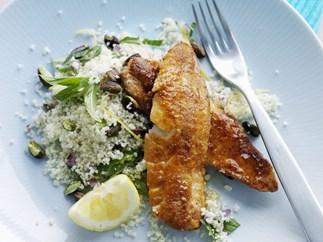 Spiced fried fish with lemon pistachio couscous