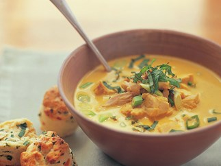 Thai-style pumpkin and chicken soup