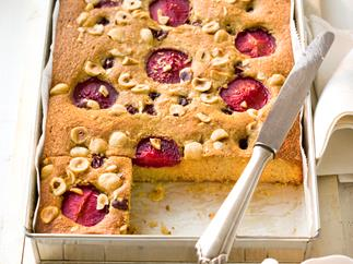 Hazelnut, plum and sour cherry cake
