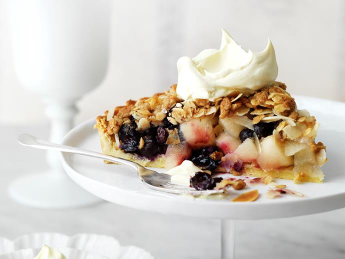 "Indulge in this delightful [blueberry apple crumble pie](https://www.womensweeklyfood.com.au/recipes/blueberry-apple-crumble-pie-28728|target=""_blank""), perfect for morning or afternoon tea."