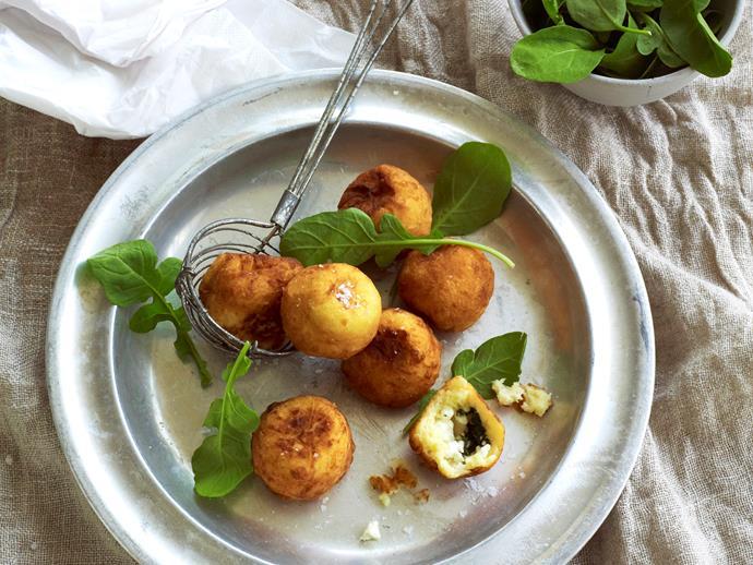 "[Feta and spinach stuffed potato balls](https://www.womensweeklyfood.com.au/recipes/feta-and-spinach-stuffed-potato-balls-8477|target=""_blank"")"