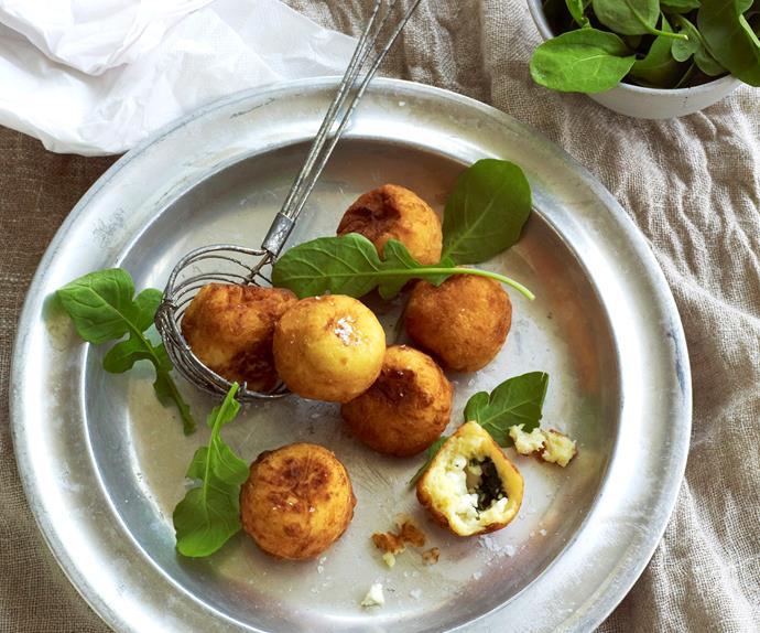 fetta and spinach stuffed potato balls