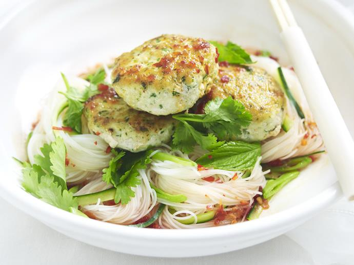 "**[Thai fish cakes with noodle salad](https://www.womensweeklyfood.com.au/recipes/thai-fish-cakes-with-noodle-salad-6409|target=""_blank"")**  Redfish, usually sold skinned as fillets, is ideal for these fish cakes because of its delicate flavour. You can, however, use practically any mild-flavoured, skinless fish fillet."