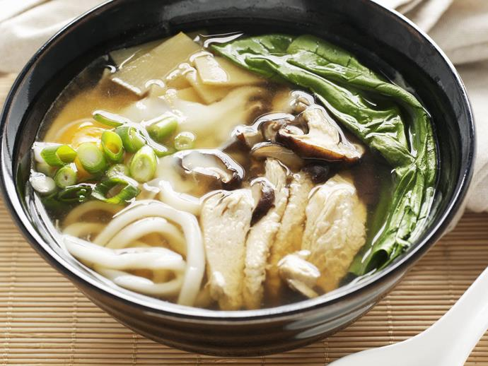 "**[Udon noodle soup](https://www.womensweeklyfood.com.au/recipes/udon-noodle-soup-6951|target=""_blank"")**  Dashi is the basic stock used in nearly every Japanese dish, from a spoonful or two in dipping sauces to greater amounts in the broths of one-pan dishes, such as the udon noodle soup we've made here."