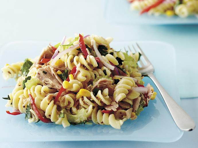 "**[Warm tuna pasta salad](https://www.womensweeklyfood.com.au/recipes/warm-tuna-pasta-salad-8029|target=""_blank"")**  Mix and match the vegies in this pasta salad that's both tasty and nutritious. Make sure to make a big batch for a cold snack the next day."