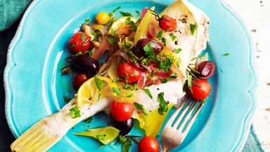 Oven-baked fish with tomato and olives