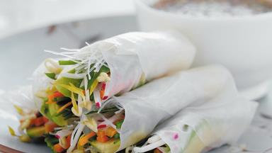 Vegetable rice paper rolls with chilli dipping sauce