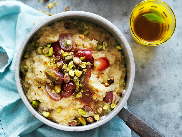"[Quinoa porridge](https://www.womensweeklyfood.com.au/recipes/quinoa-porridge-12791|target=""_blank"") Healthy, warming and packed full of goodness, this gluten-free porridge is made with the naturally low GI-quinoa to create a nutty, textural breakfast. It's beautiful topped with fresh fruit and nuts."