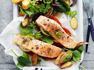 salmon parcels with kipfler potatoes