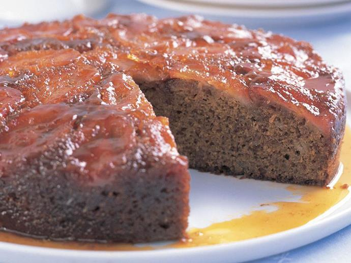 "**[Upside-down toffee banana cake](https://www.womensweeklyfood.com.au/recipes/upside-down-toffee-banana-cake-6991|target=""_blank"")**  Rich, fruity and topped with toffee, this upside-down banana cake is sure to become a firm favourite. Delicious on it's own, or served warm with a dollop of thick cream."