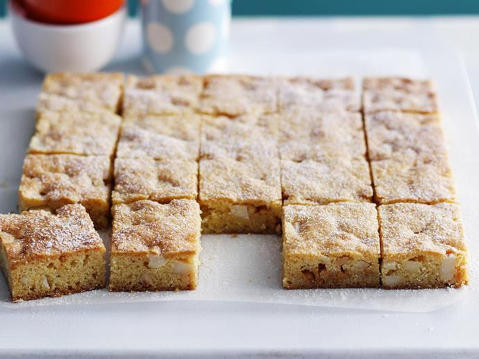 """Like someone took your favourite cookie and turned into a a slice! This [white chocolate and macadamia slice](https://www.womensweeklyfood.com.au/recipes/white-chocolate-and-macadamia-slice-11719