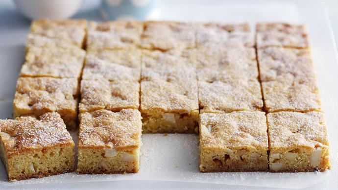 White chocolate and macadamia slice