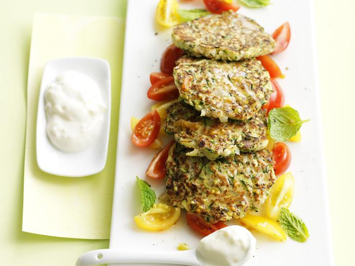 "[Zucchini fritters with tomato mint salad](http://www.foodtolove.com.au/recipes/zucchini-fritters-with-tomato-mint-salad-15067|target=""_blank"")"