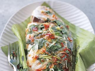 Whole Thai-style steamed fish