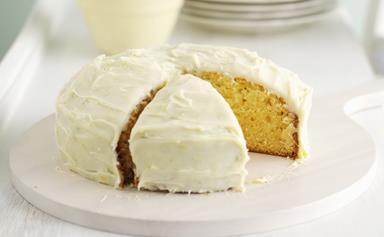 White chocolate coconut citrus cake
