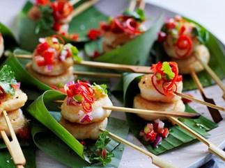 Fish scrolls with capsicum salsa