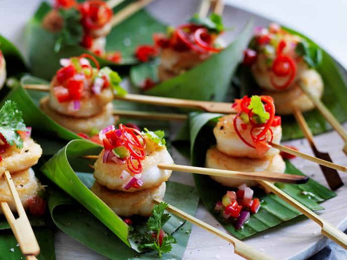 """**[Fish scrolls with capsicum salsa](https://www.womensweeklyfood.com.au/recipes/fish-scrolls-with-capsicum-salsa-28733 target=""""_blank"""")**  These delicious fish scrolls are beautiful topped with a zesty capsicum salsa - healthy, fresh and super tasty! They make the perfect finger food for dinner parties."""