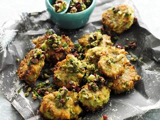 Artichoke and asparagus fritters with olive relish