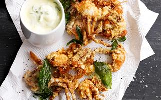 Soft shell crab with green onion aioli