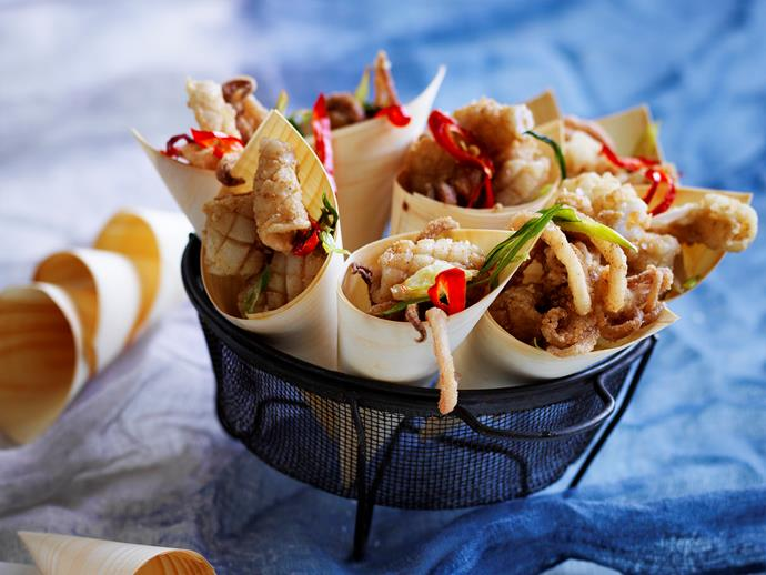 "**[Five spice squid with lime mayonnaise](https://www.womensweeklyfood.com.au/recipes/five-spice-squid-with-lime-mayonnaise-28738|target=""_blank"")**  Excite your dinner guests with this crunchy, succulent and delicious five-spice squid, served with zingy lime mayonnaise. It makes the perfect share-plate for your next dinner party!"