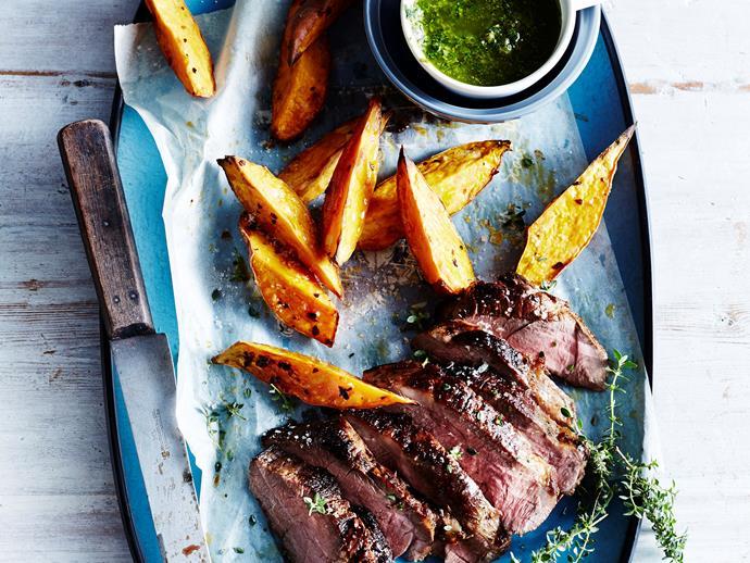 Barbecued lamb leg with lemon thyme salsa verde via [Food To Love](http://www.foodtolove.com.au/recipes/barbecued-lamb-leg-with-lemon-thyme-salsa-verde-17010).