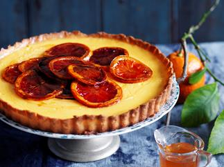 Tangelo tart with candied blood oranges
