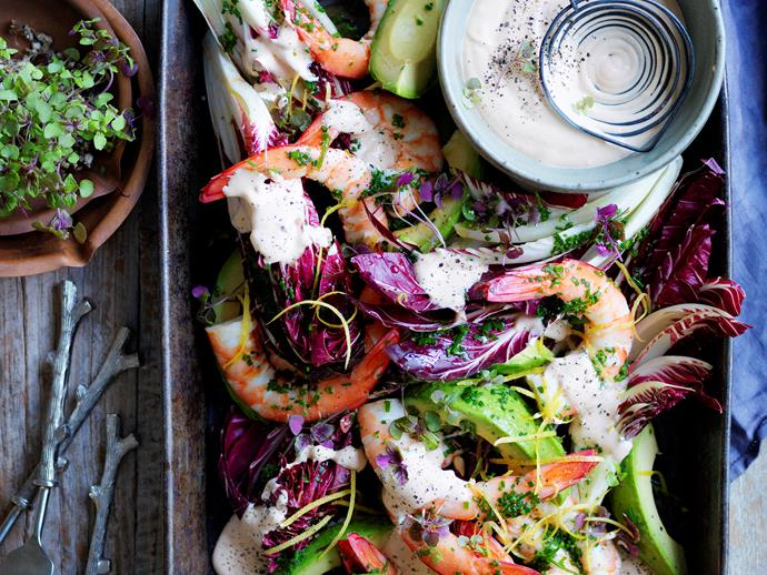 "**[Prawn cocktail platter](https://www.womensweeklyfood.com.au/recipes/prawn-cocktail-platter-28748|target=""_blank"")**  Re-invent an old favourite with this gourmet take on the classic prawn cocktail. It's served here on a platter with a creamy cocktail sauce to create a fresh, healthy and delicious dish that's perfect for your next party or BBQ."