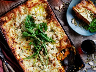 Pumpkin and goat's cheese lasagne with rocket and pepita