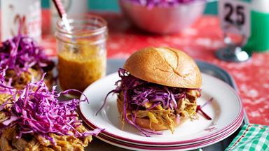 South Carolina pulled pork bun with mustard barbecue sauce
