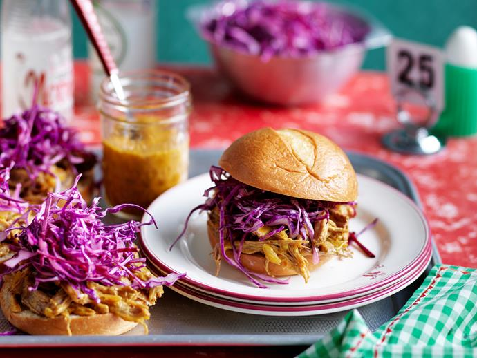 "[South Carolina pulled pork bun with mustard barbecue sauce.](https://www.womensweeklyfood.com.au/recipes/south-carolina-pulled-pork-bun-with-mustard-bbq-sauce-28752|target=""_blank"")"
