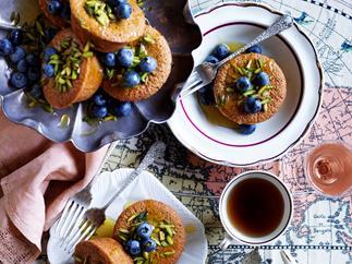 Pistachio friands with honey pistachio syrup
