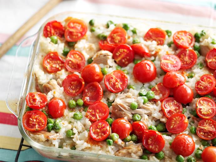 "**[Oven-baked tuna risotto](https://www.womensweeklyfood.com.au/recipes/oven-baked-tuna-risotto-28767|target=""_blank"")**  Baking your risotto in the oven is a lot easier than standing over the saucepan, making it perfect for busy weeknight dinners. This one is packed full of protein-packed tuna and fresh tuna and tomatoes to create a delicious and nutritious dish."