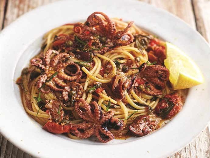 """Not for the faint-hearted, this [octopus dish](https://www.foodtolove.co.nz/recipes/octopus-linguine-31179