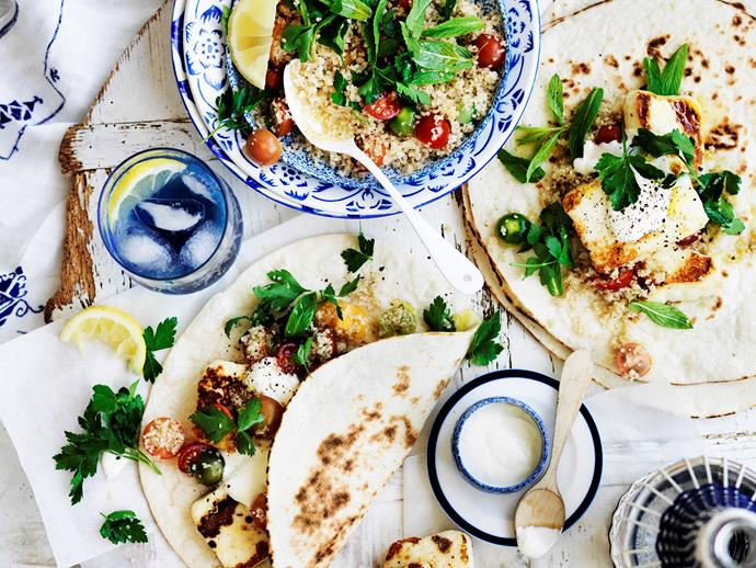 """**[Grilled haloumi gyros](https://www.womensweeklyfood.com.au/recipes/grilled-haloumi-gyros-28797